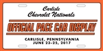2017 Chevrolet Nationals- Pace Car License Plate